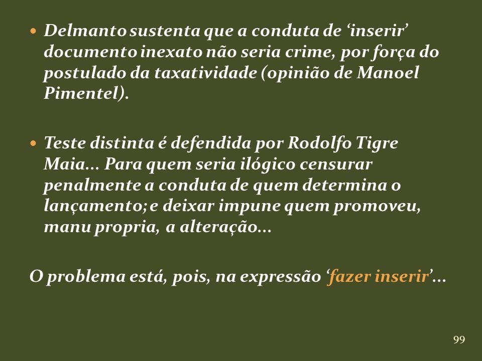 99 Delmanto sustenta que a conduta de inserir documento inexato não seria crime, por força do postulado da taxatividade (opinião de Manoel Pimentel).