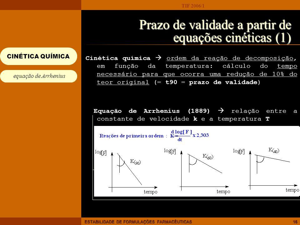 TIF 2006/1 ESTABILIDADE DE FORMULAÇÕES FARMACÊUTICAS16 Prazo de validade a partir de equações cinéticas (1) Cinética química ordem da reação de decomp