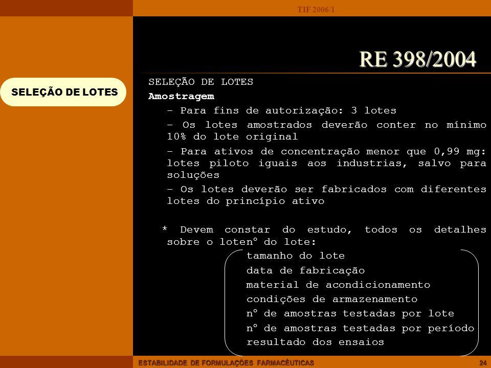 TIF 2006/1 ESTABILIDADE DE FORMULAÇÕES FARMACÊUTICAS24 SELEÇÃO DE LOTES Amostragem - Para fins de autorização: 3 lotes - Os lotes amostrados deverão c