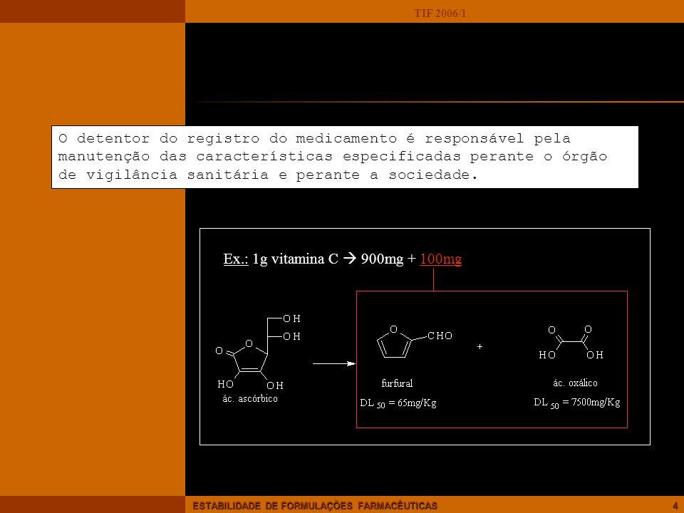 TIF 2006/1 ESTABILIDADE DE FORMULAÇÕES FARMACÊUTICAS5 Fatores que influem na estabilidade FATORES EXTRÍNSECOS tempo: envelhecimento do produto temperatura : aceleração de reações físico-químicas : possível aceleração de alterações físicas (produção, transporte, estocagem) luz e oxigênio: radicais livres – reações de oxi-redução umidade: aspecto físico, contaminação...