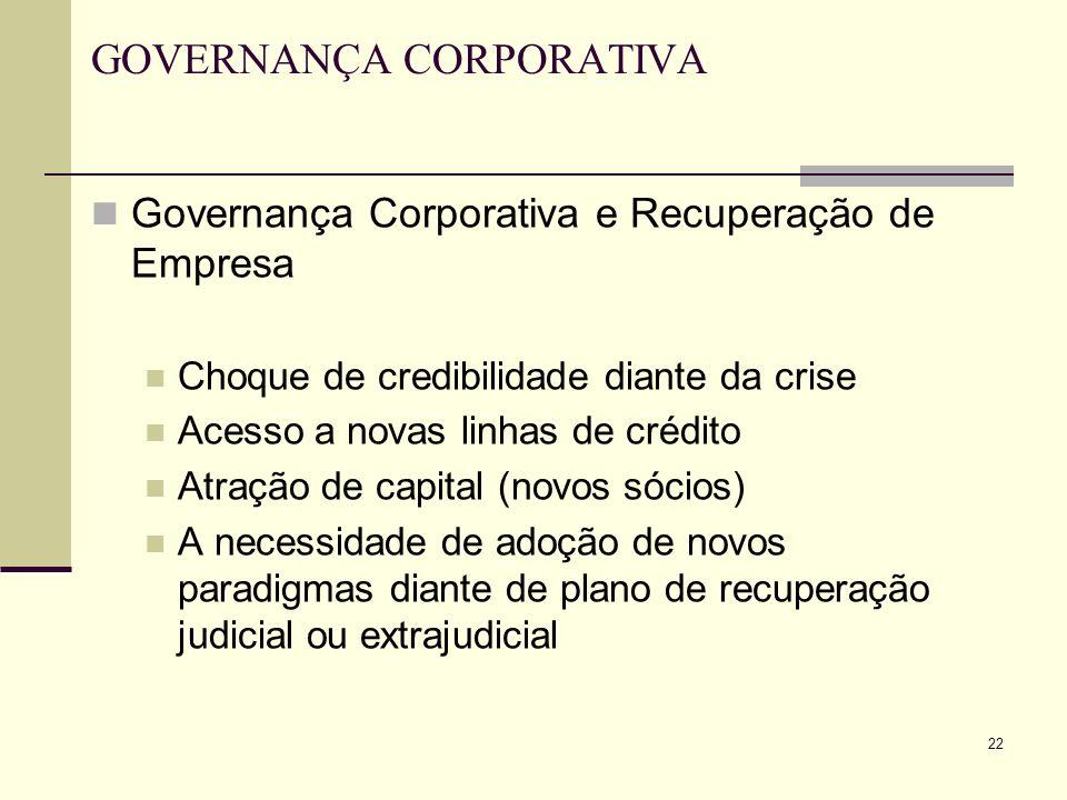 22 GOVERNANÇA CORPORATIVA Governança Corporativa e Recuperação de Empresa Choque de credibilidade diante da crise Acesso a novas linhas de crédito Atr