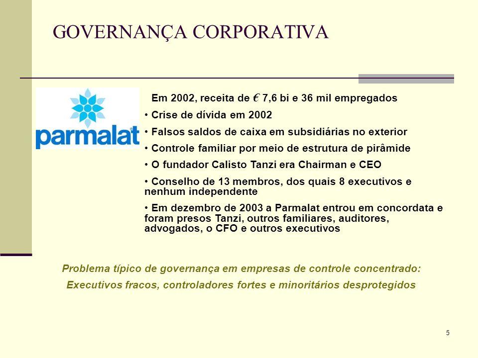 5 Em 2002, receita de 7,6 bi e 36 mil empregados Crise de dívida em 2002 Falsos saldos de caixa em subsidiárias no exterior Controle familiar por meio
