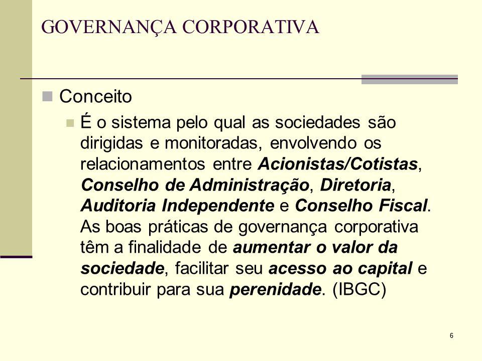 66 GOVERNANÇA CORPORATIVA Conceito É o sistema pelo qual as sociedades são dirigidas e monitoradas, envolvendo os relacionamentos entre Acionistas/Cot