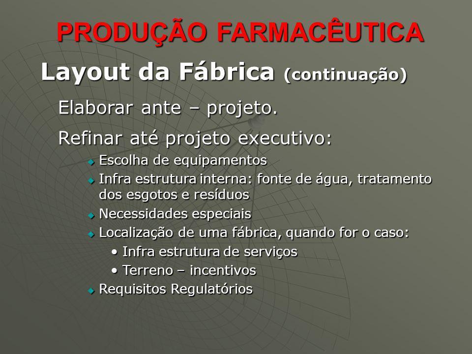 Layout da Fábrica (continuação) Elaborar ante – projeto. Refinar até projeto executivo: Escolha de equipamentos Escolha de equipamentos Infra estrutur