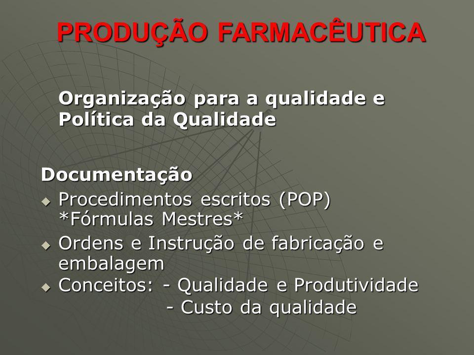 Organização para a qualidade e Política da Qualidade Documentação Procedimentos escritos (POP) *Fórmulas Mestres* Procedimentos escritos (POP) *Fórmul