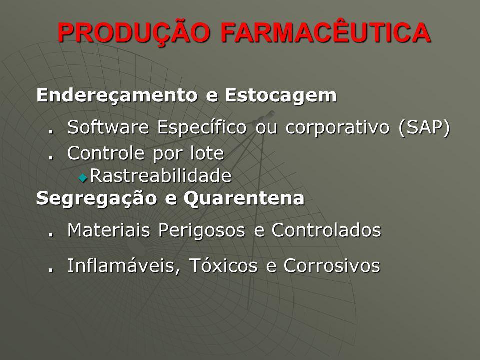 Endereçamento e Estocagem Endereçamento e Estocagem. Software Específico ou corporativo (SAP). Controle por lote Rastreabilidade Rastreabilidade Segre