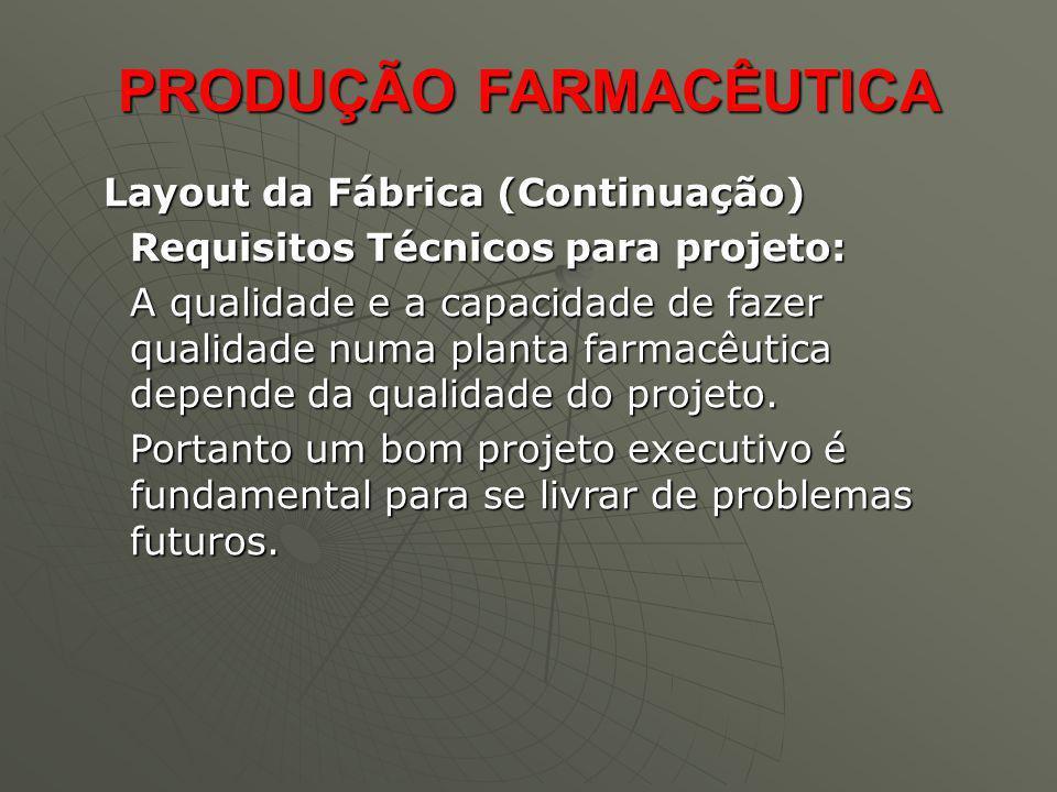 Layout da Fábrica (Continuação) Layout da Fábrica (Continuação) Requisitos Técnicos para projeto: A qualidade e a capacidade de fazer qualidade numa p