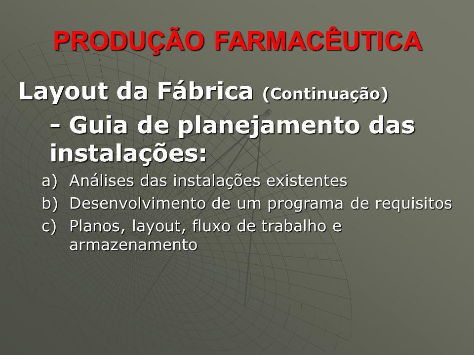 PRODUÇÃO FARMACÊUTICA PRODUÇÃO FARMACÊUTICA Layout da Fábrica (Continuação) Layout da Fábrica (Continuação) Para instalação de uma fábrica, é preciso considerar a acomodação de todas as atividades operacionais.