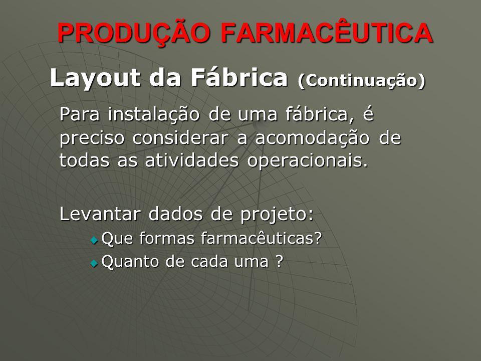 PRODUÇÃO FARMACÊUTICA PRODUÇÃO FARMACÊUTICA Layout da Fábrica (Continuação) Layout da Fábrica (Continuação) Para instalação de uma fábrica, é preciso