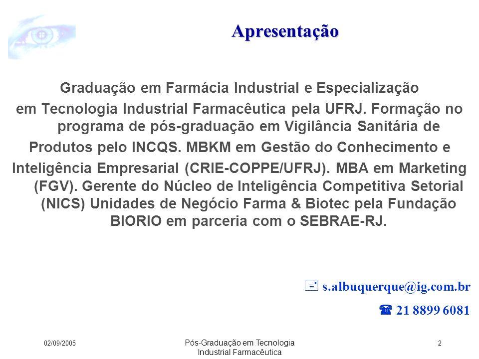 02/09/2005 Pós-Graduação em Tecnologia Industrial Farmacêutica 73 PORTER: Princípios & Aplicação Ferramenta para estudo das características competitivas do setor que compõem o ambiente de negócios da empresa.