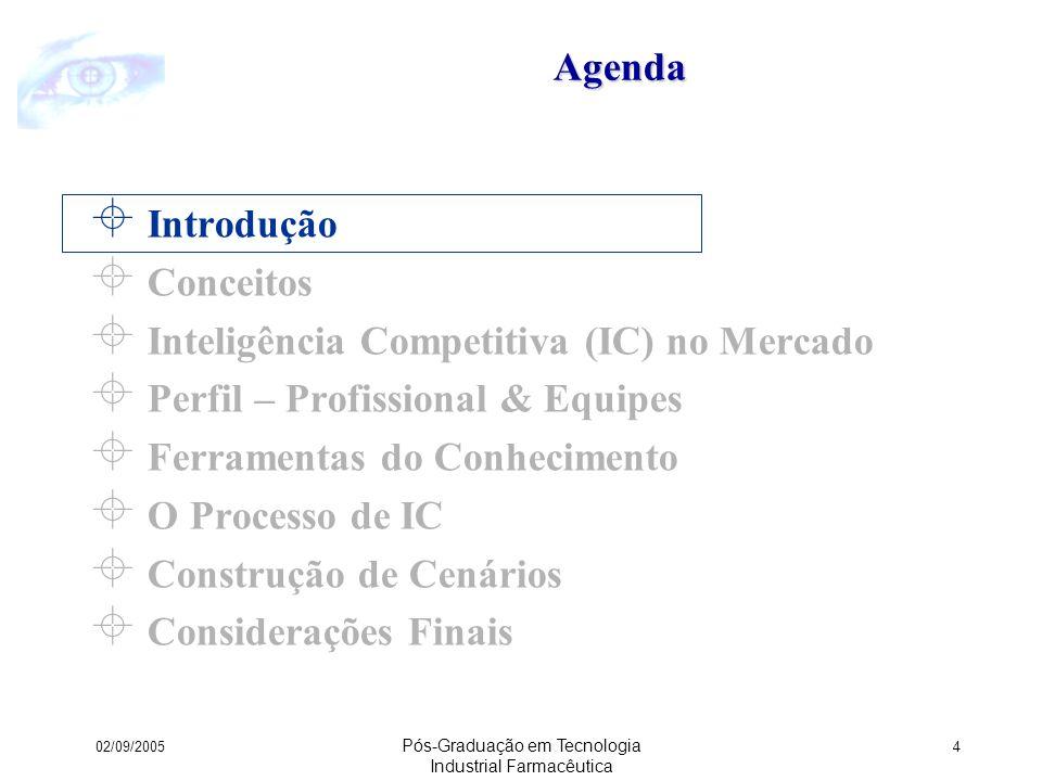 02/09/2005 Pós-Graduação em Tecnologia Industrial Farmacêutica 15Agenda Introdução Conceitos Inteligência Competitiva (IC) no Mercado Perfil – Profissional & Equipes Ferramentas do Conhecimento O Processo de IC Construção de Cenários Considerações Finais