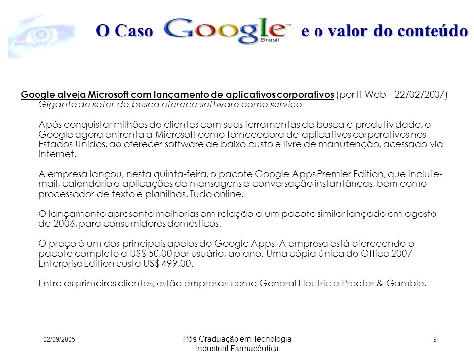 02/09/2005 Pós-Graduação em Tecnologia Industrial Farmacêutica 80 Fatores Críticos de Sucesso Apadrinhamento !.
