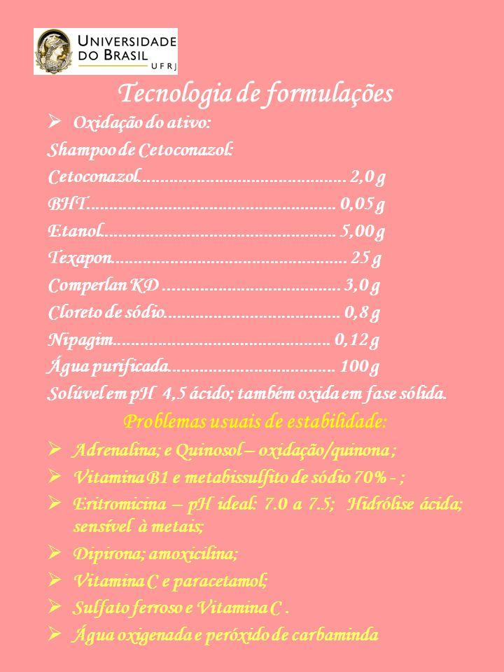 Tecnologia de formulações Oxidação do ativo: Shampoo de Cetoconazol: Cetoconazol..............................................