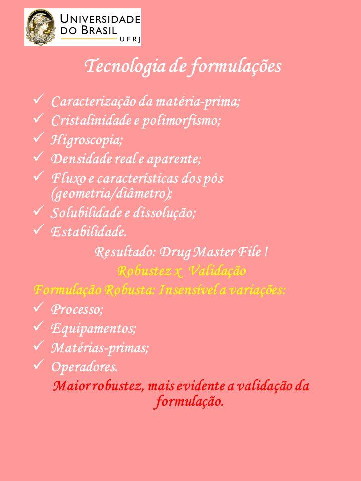 Tecnologia de formulações Caracterização da matéria-prima; Cristalinidade e polimorfismo; Higroscopia; Densidade real e aparente; Fluxo e características dos pós (geometria/diâmetro); Solubilidade e dissolução; Estabilidade.