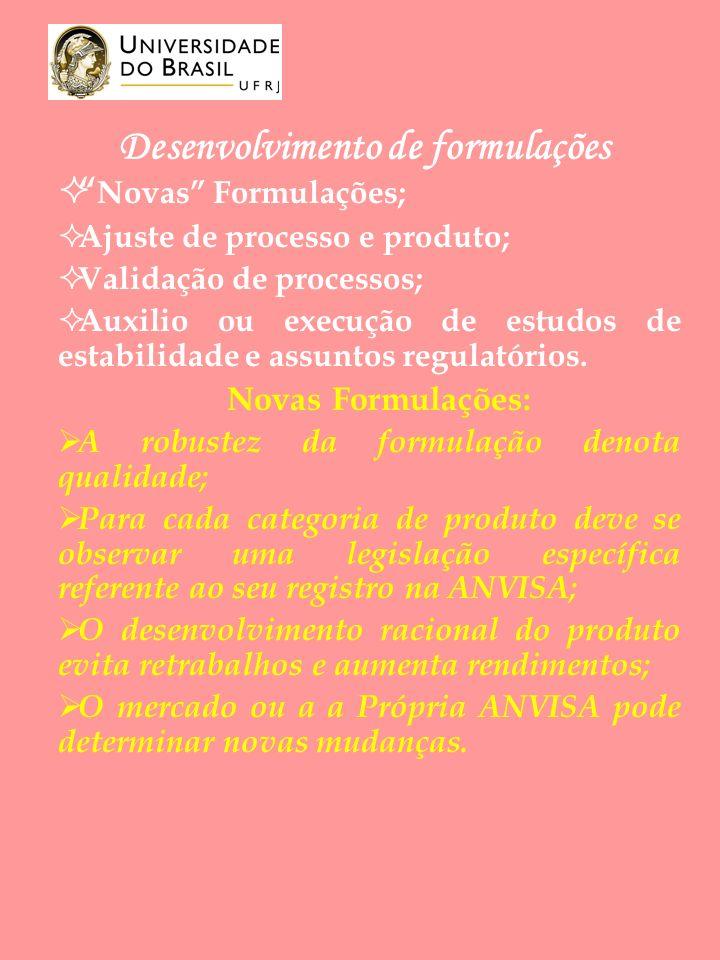 Desenvolvimento de formulações Novas Formulações; Ajuste de processo e produto; Validação de processos; Auxilio ou execução de estudos de estabilidade e assuntos regulatórios.