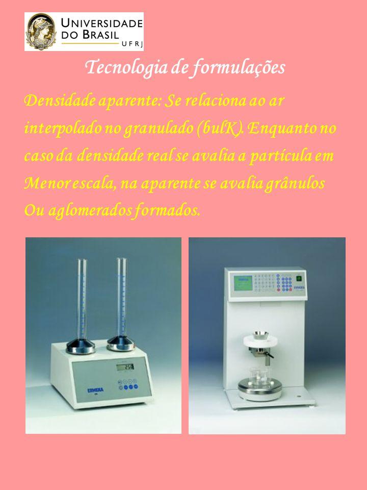 Tecnologia de formulações Densidade aparente: Se relaciona ao ar interpolado no granulado (bulK).