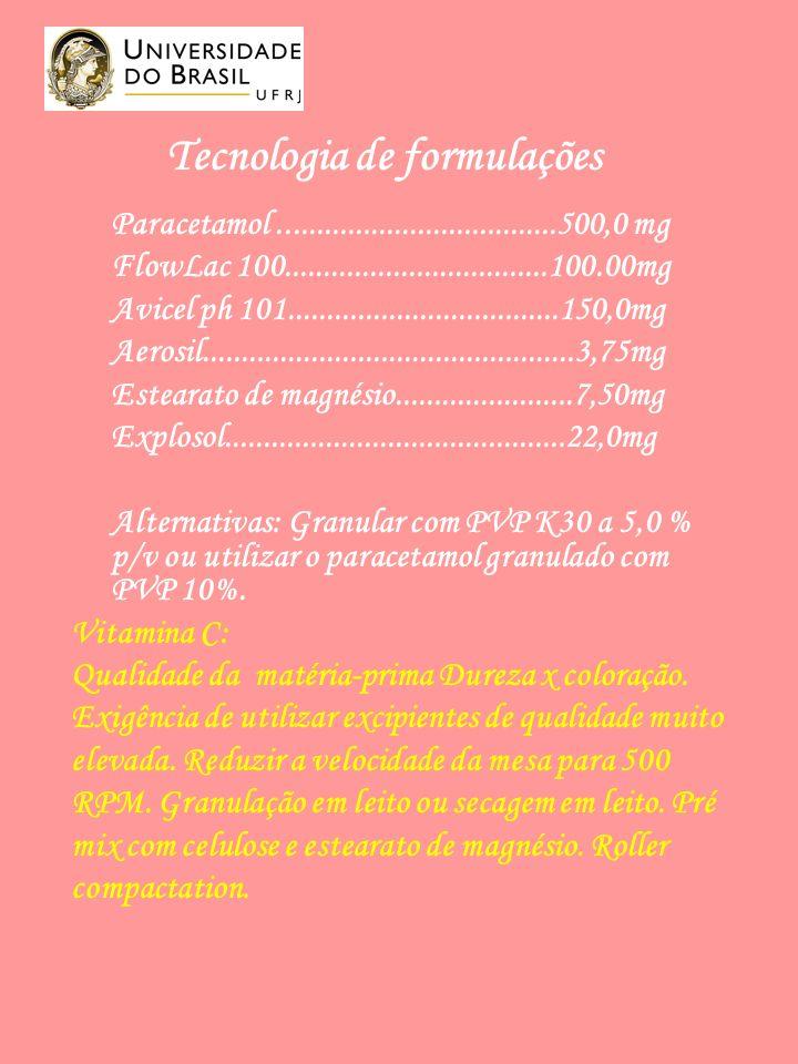 Tecnologia de formulações Paracetamol....................................500,0 mg FlowLac 100..................................100.00mg Avicel ph 101...................................150,0mg Aerosil................................................3,75mg Estearato de magnésio.......................7,50mg Explosol............................................22,0mg Alternativas: Granular com PVP K30 a 5,0 % p/v ou utilizar o paracetamol granulado com PVP 10%.