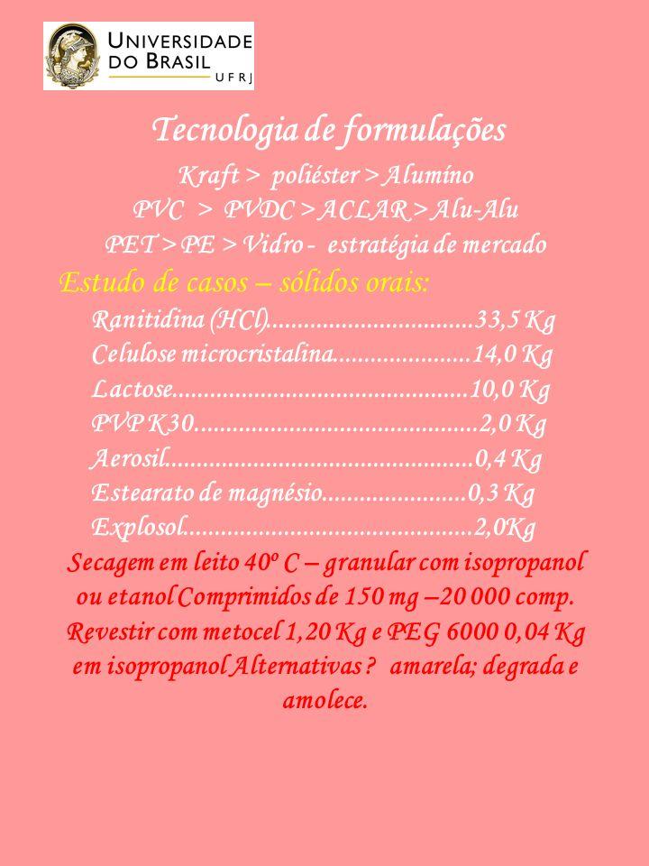 Tecnologia de formulações Kraft > poliéster > Alumíno PVC > PVDC > ACLAR > Alu-Alu PET > PE > Vidro - estratégia de mercado Estudo de casos – sólidos orais: Ranitidina (HCl).................................33,5 Kg Celulose microcristalina......................14,0 Kg Lactose...............................................10,0 Kg PVP K30.............................................2,0 Kg Aerosil.................................................0,4 Kg Estearato de magnésio.......................0,3 Kg Explosol..............................................2,0Kg Secagem em leito 40 o C – granular com isopropanol ou etanol Comprimidos de 150 mg –20 000 comp.