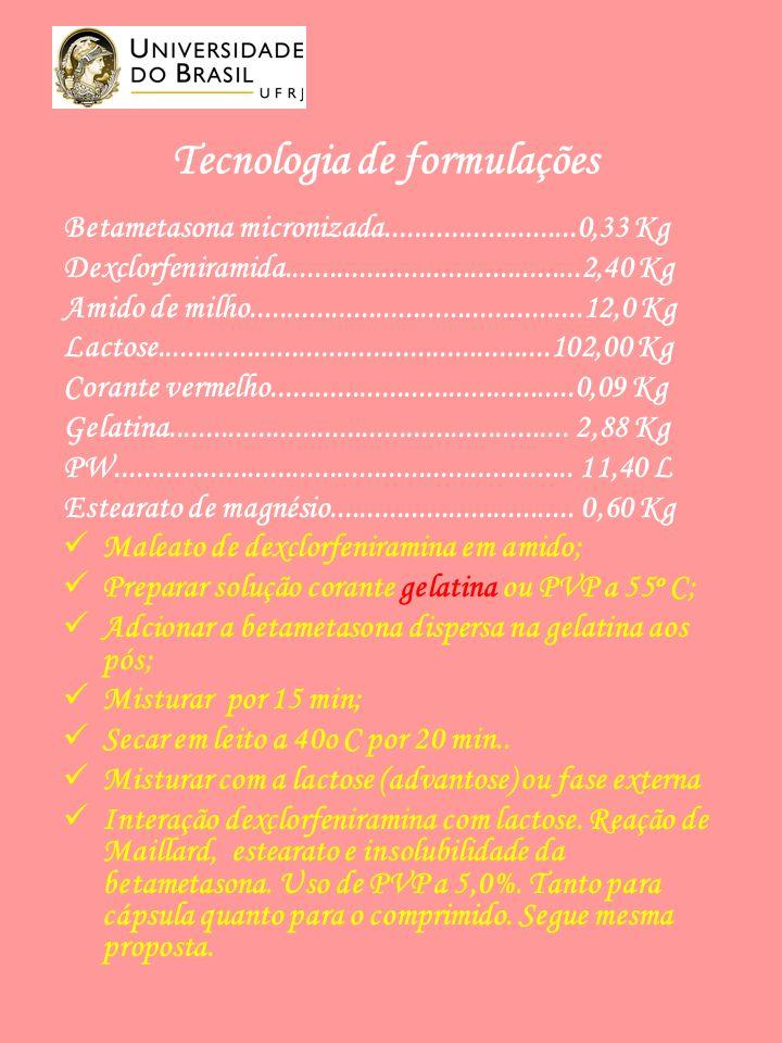 Tecnologia de formulações Betametasona micronizada..........................0,33 Kg Dexclorfeniramida........................................2,40 Kg Amido de milho.............................................12,0 Kg Lactose.....................................................102,00 Kg Corante vermelho.........................................0,09 Kg Gelatina......................................................