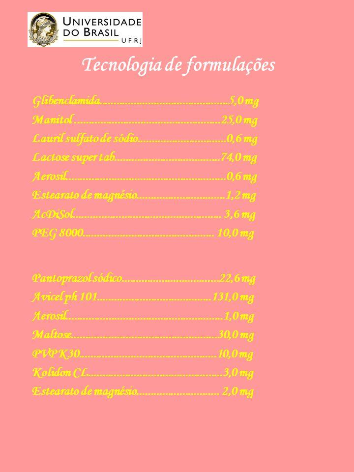 Tecnologia de formulações Glibenclamida.............................................5,0 mg Manitol...................................................25,0 mg Lauril sulfato de sódio...............................0,6 mg Lactose super tab.....................................74,0 mg Aerosil........................................................0,6 mg Estearato de magnésio...............................1,2 mg AcDiSol....................................................