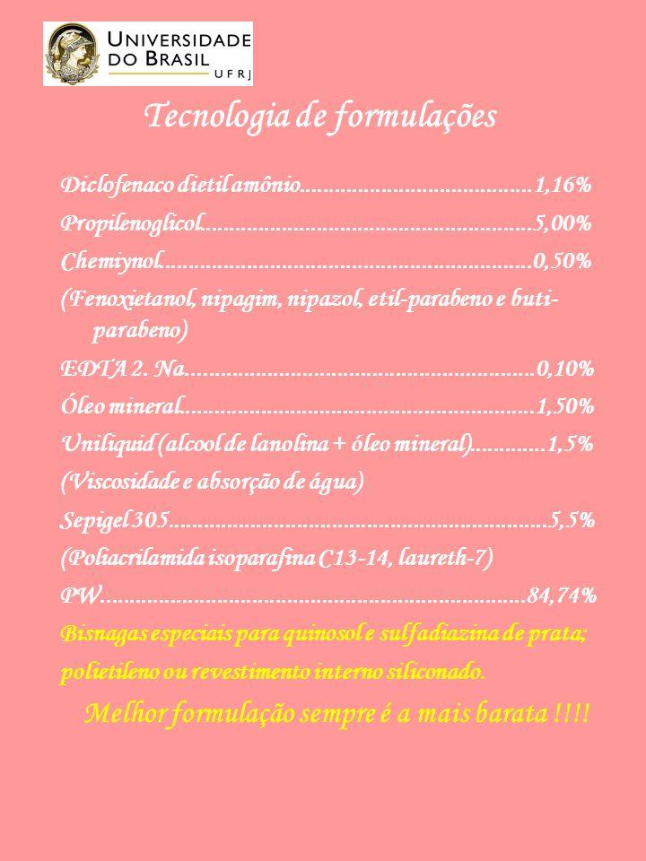 Tecnologia de formulações Diclofenaco dietil amônio........................................1,16% Propilenoglicol.........................................................5,00% Chemiynol................................................................0,50% (Fenoxietanol, nipagim, nipazol, etil-parabeno e buti- parabeno) EDTA 2.