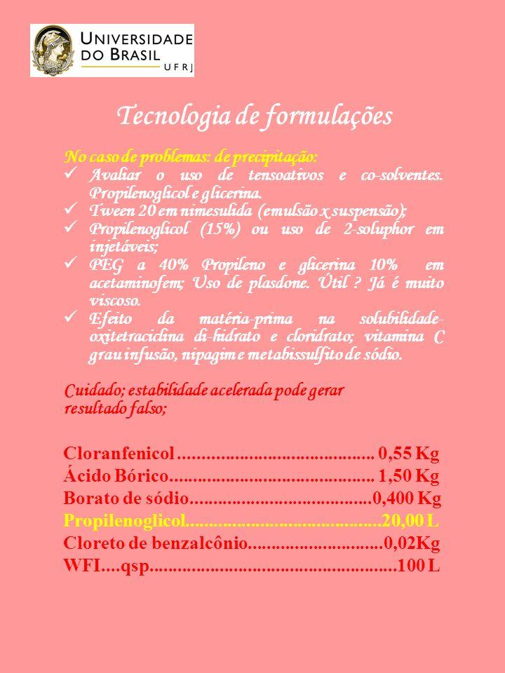 Tecnologia de formulações No caso de problemas: de precipitação: Avaliar o uso de tensoativos e co-solventes.