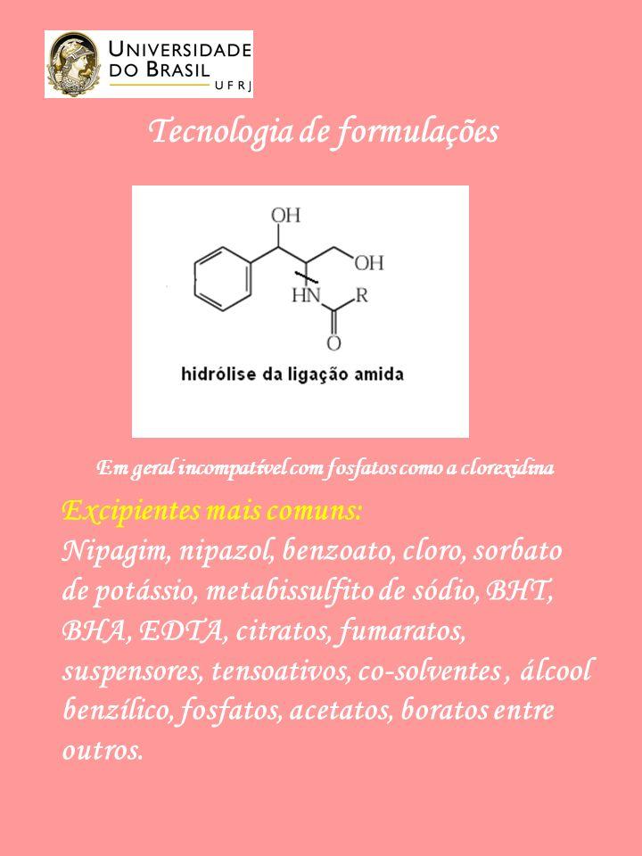 Tecnologia de formulações Excipientes mais comuns: Nipagim, nipazol, benzoato, cloro, sorbato de potássio, metabissulfito de sódio, BHT, BHA, EDTA, citratos, fumaratos, suspensores, tensoativos, co-solventes, álcool benzílico, fosfatos, acetatos, boratos entre outros.