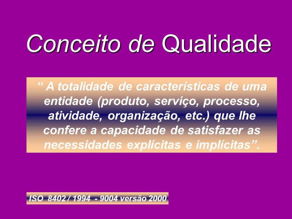 A totalidade de características de uma entidade (produto, serviço, processo, atividade, organização, etc.) que lhe confere a capacidade de satisfazer