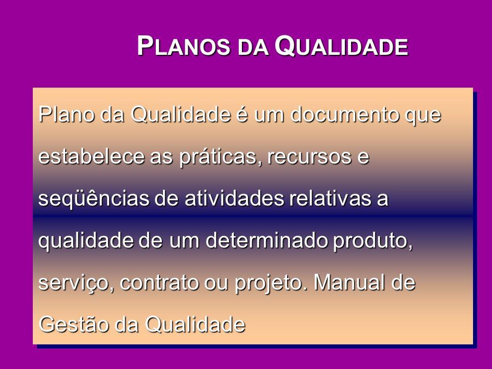 P LANOS DA Q UALIDADE Plano da Qualidade é um documento que estabelece as práticas, recursos e seqüências de atividades relativas a qualidade de um de