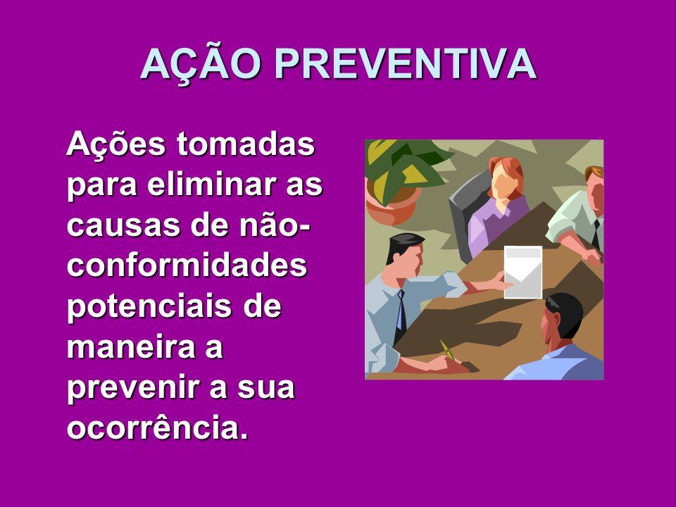 AÇÃO PREVENTIVA Ações tomadas para eliminar as causas de não- conformidades potenciais de maneira a prevenir a sua ocorrência.