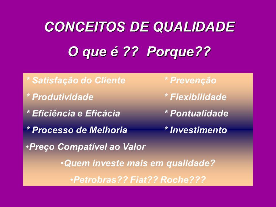 * Satisfação do Cliente * Prevenção * Produtividade * Flexibilidade * Eficiência e Eficácia * Pontualidade * Processo de Melhoria * Investimento Preço