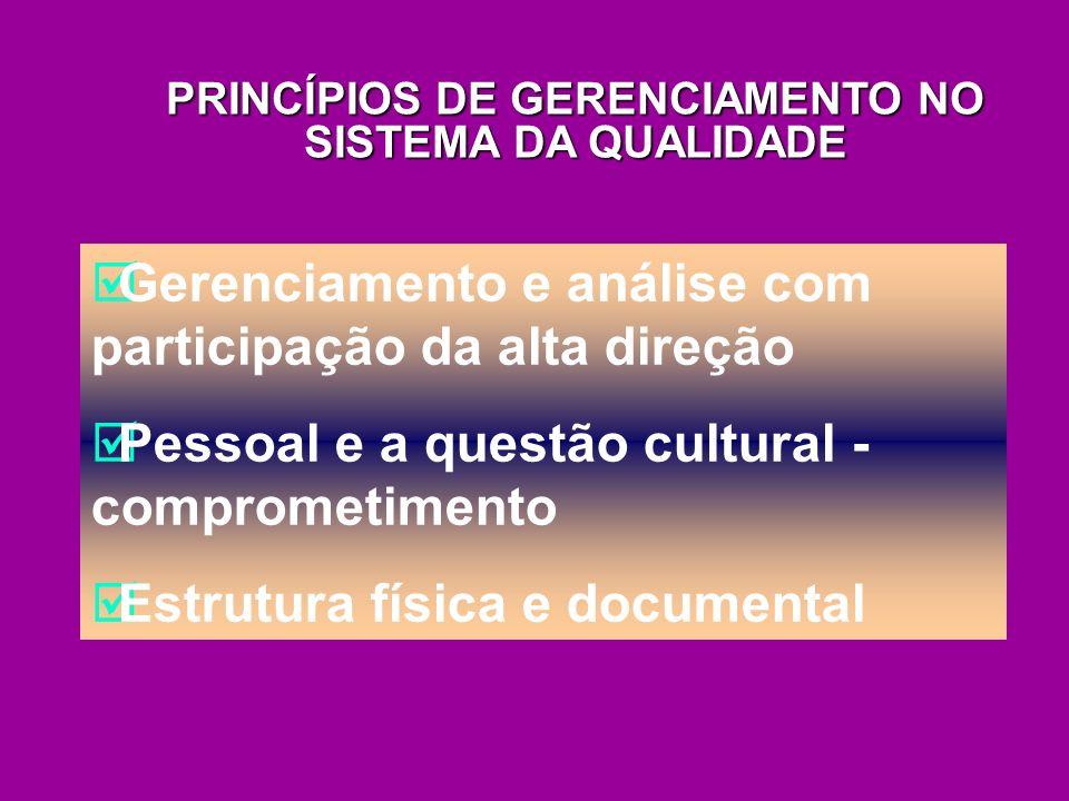 Gerenciamento e análise com participação da alta direção Pessoal e a questão cultural - comprometimento Estrutura física e documental PRINCÍPIOS DE GE