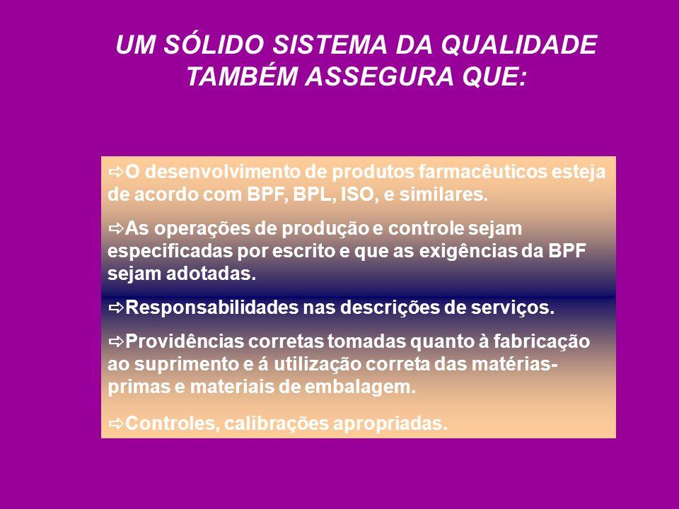 O desenvolvimento de produtos farmacêuticos esteja de acordo com BPF, BPL, ISO, e similares. As operações de produção e controle sejam especificadas p