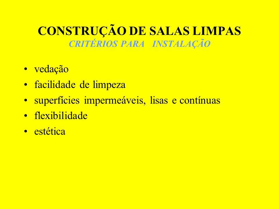 CONSTRUÇÃO DE SALAS LIMPAS CRITÉRIOS PARA INSTALAÇÃO vedação facilidade de limpeza superfícies impermeáveis, lisas e contínuas flexibilidade estética