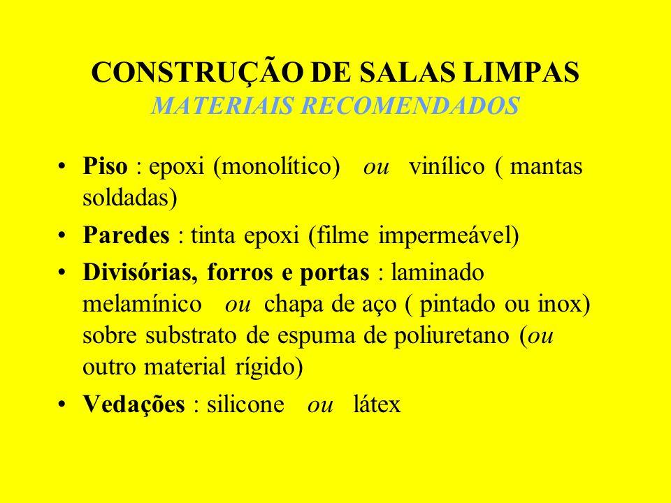 CONSTRUÇÃO DE SALAS LIMPAS MATERIAIS RECOMENDADOS Piso : epoxi (monolítico) ou vinílico ( mantas soldadas) Paredes : tinta epoxi (filme impermeável) D