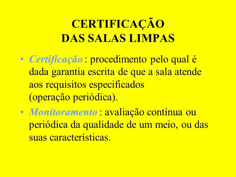 CERTIFICAÇÃO DAS SALAS LIMPAS Certificação : procedimento pelo qual é dada garantia escrita de que a sala atende aos requisitos especificados (operaçã