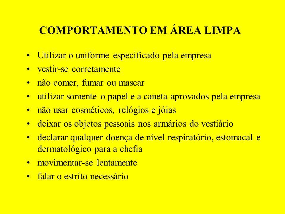 COMPORTAMENTO EM ÁREA LIMPA Utilizar o uniforme especificado pela empresa vestir-se corretamente não comer, fumar ou mascar utilizar somente o papel e