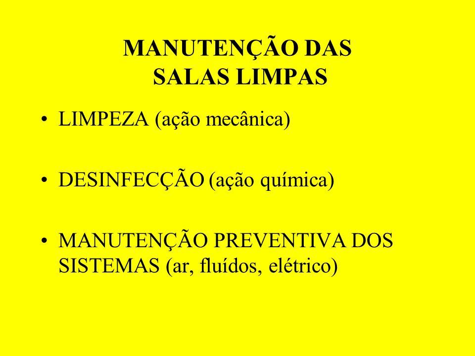MANUTENÇÃO DAS SALAS LIMPAS LIMPEZA (ação mecânica) DESINFECÇÃO (ação química) MANUTENÇÃO PREVENTIVA DOS SISTEMAS (ar, fluídos, elétrico)
