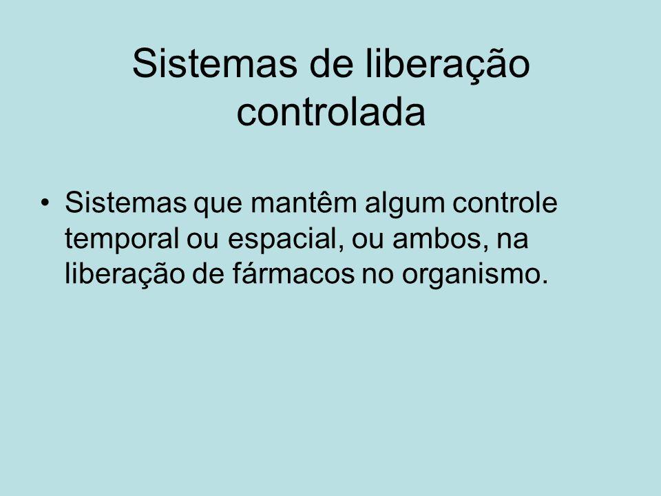 Sistemas de liberação controlada Sistemas que mantêm algum controle temporal ou espacial, ou ambos, na liberação de fármacos no organismo.