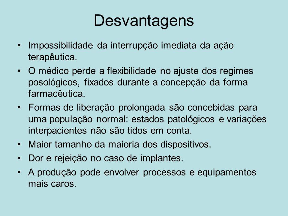 Desvantagens Impossibilidade da interrupção imediata da ação terapêutica. O médico perde a flexibilidade no ajuste dos regimes posológicos, fixados du