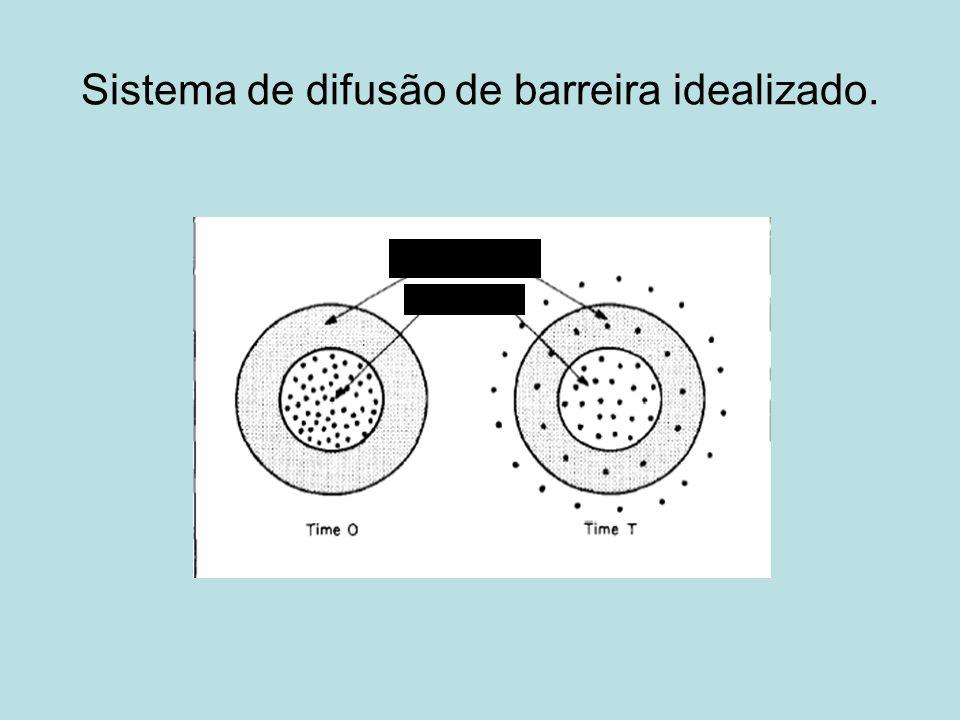 Sistema de difusão de barreira idealizado. Polímero Fármaco