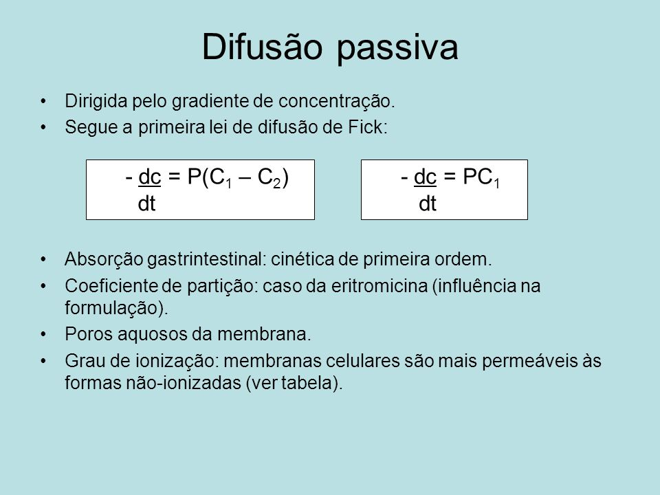 Difusão passiva Efeito do pH sobre a ionização de eletrólitos fracos pK a - pH % não-ionizada Se for ácido fracoSe for base fraca - 3,00,10099,9 - 2,00,99099,0 - 1,09,0990,9 - 0,238,761,3 050,0 0,261,338,7 1,090,99,09 2,099,00,99 3,099,90,100