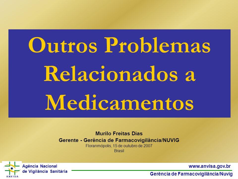 12 www.anvisa.gov.br Gerência de Farmacovigilância/Nuvig Agência Nacional de Vigilância Sanitária Um desvio da qualidade de medicamentos pode ser devido ao transporte, armazenagem e uso