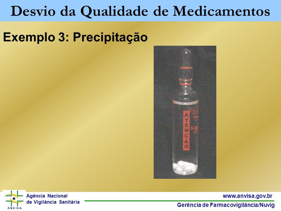 10 www.anvisa.gov.br Gerência de Farmacovigilância/Nuvig Agência Nacional de Vigilância Sanitária Exemplo 3: Precipitação Desvio da Qualidade de Medic