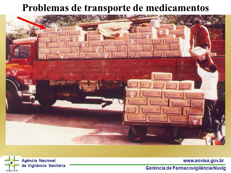 13 www.anvisa.gov.br Gerência de Farmacovigilância/Nuvig Agência Nacional de Vigilância Sanitária Problemas de transporte de medicamentos