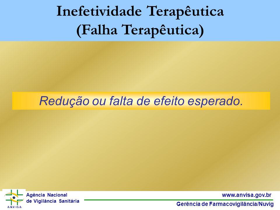 18 www.anvisa.gov.br Gerência de Farmacovigilância/Nuvig Agência Nacional de Vigilância Sanitária Redução ou falta de efeito esperado. Inefetividade T