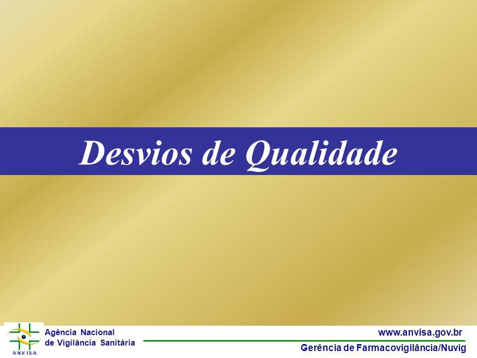 2 www.anvisa.gov.br Gerência de Farmacovigilância/Nuvig Agência Nacional de Vigilância Sanitária Desvios de Qualidade