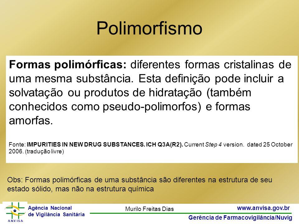 22 www.anvisa.gov.br Gerência de Farmacovigilância/Nuvig Agência Nacional de Vigilância Sanitária Murilo Freitas Dias Polimorfismo Formas polimórficas