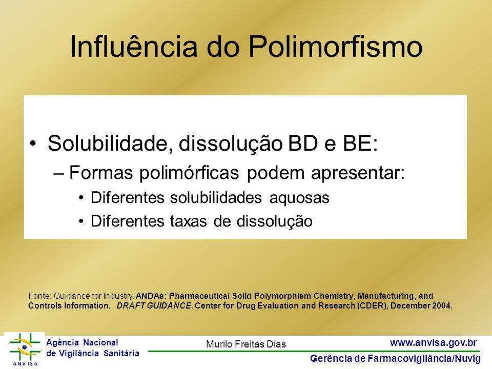 23 www.anvisa.gov.br Gerência de Farmacovigilância/Nuvig Agência Nacional de Vigilância Sanitária Murilo Freitas Dias Influência do Polimorfismo - Sol