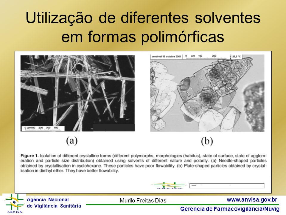 24 www.anvisa.gov.br Gerência de Farmacovigilância/Nuvig Agência Nacional de Vigilância Sanitária Murilo Freitas Dias Utilização de diferentes solvent
